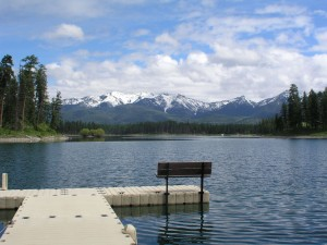 Dock on Echo Lake with Swan Range Mountains