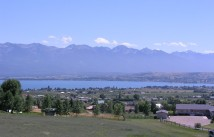 View over Polson Bay with Mission Mountain backdrop