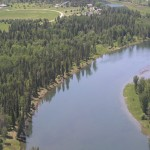 Aerial view of the Swan River in Bigfork Montana