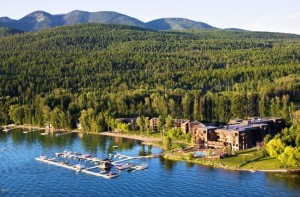 Aerial view of Whitefish Lake Lodge Resort and condominiums for sale.