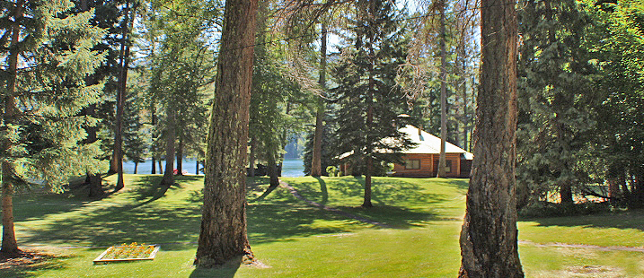 The Main Lodge sits on a knoll overlooking Swan Lake.