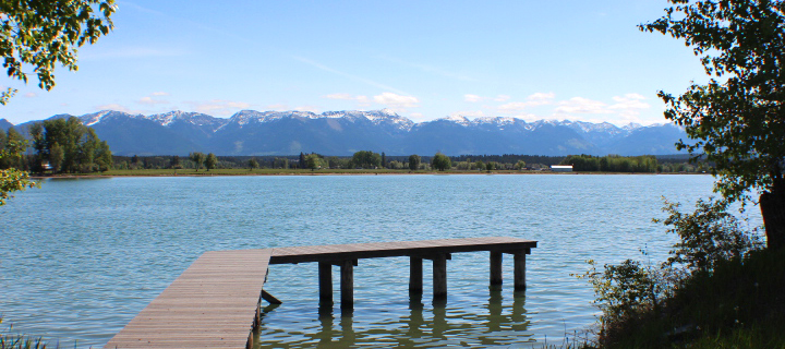 Looking east across the Flathead River in Lower Valley to the Swan Mountain Range